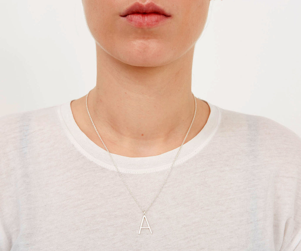 Outline Alphabet Necklace Silver Maya Magal jewellery London