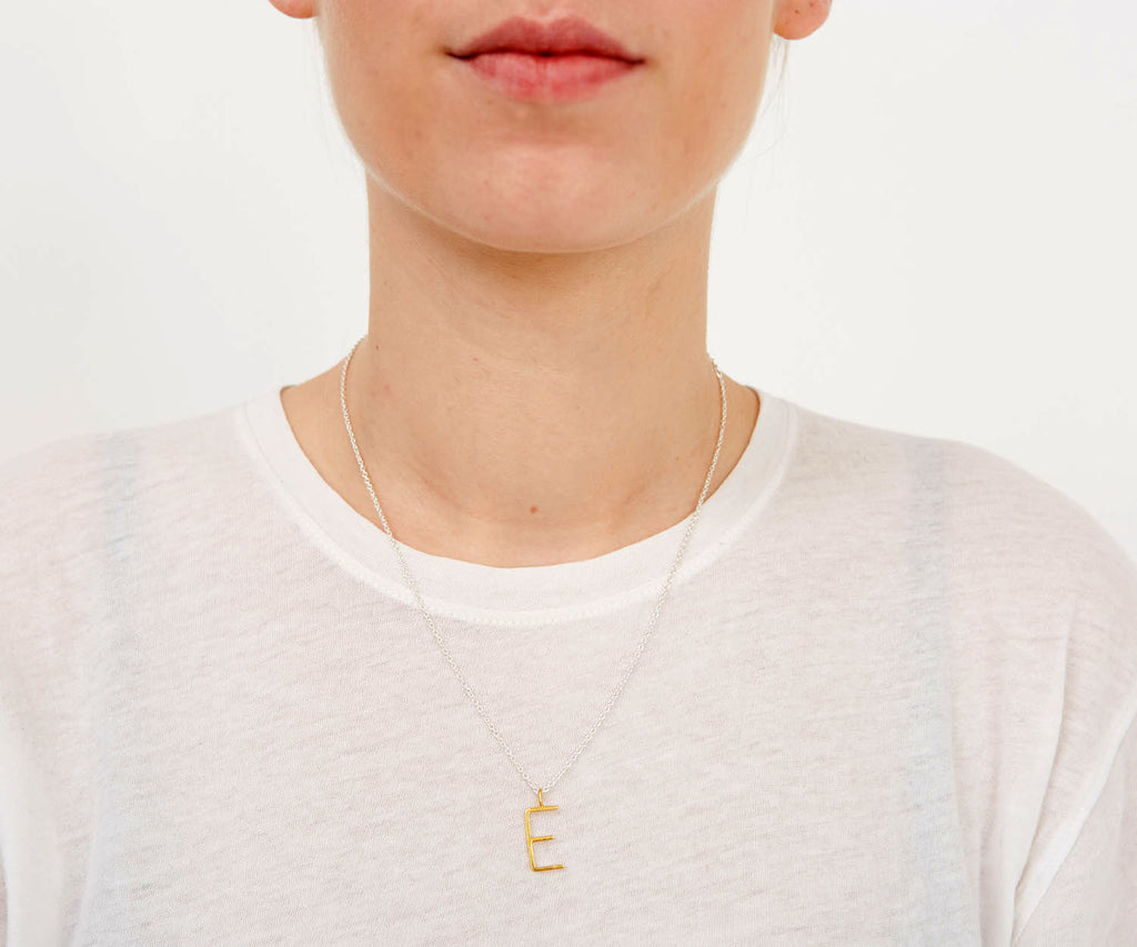 Outline Alphabet Necklace Gold Maya Magal jewellery London