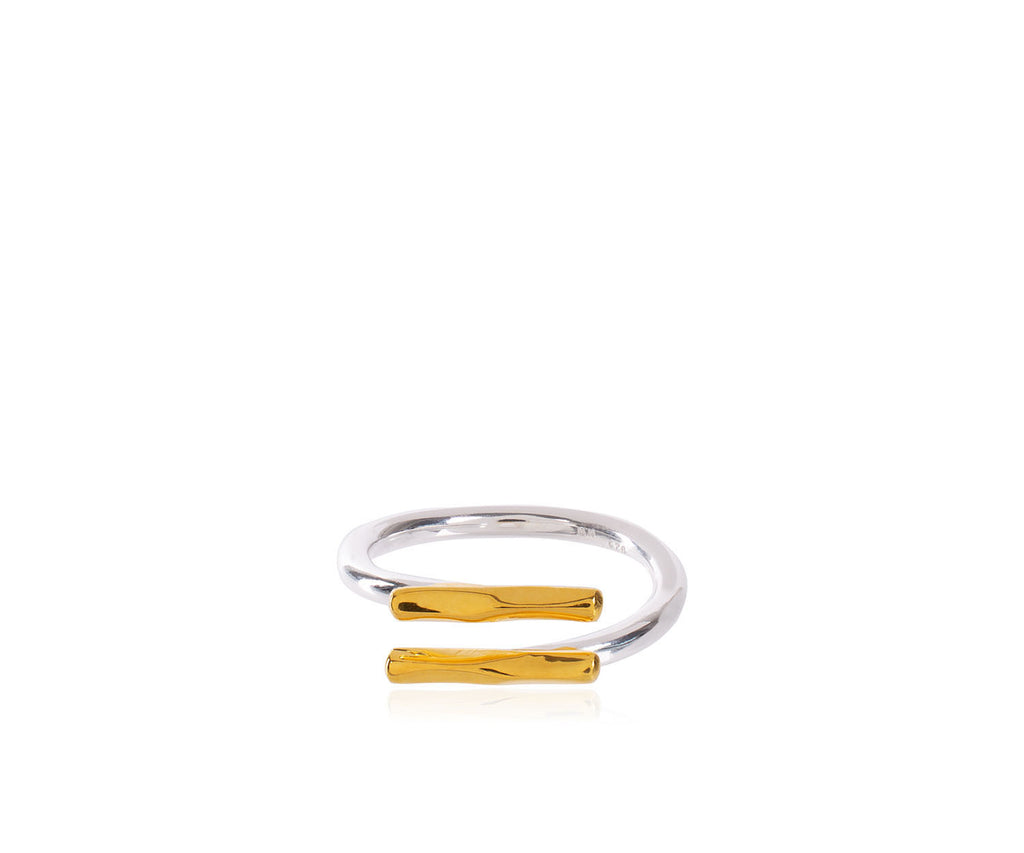 Lava Adjustable Double Bar Ring handmade Maya Magal London mixed metals