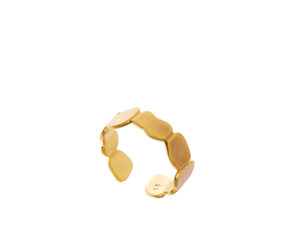 Lava Puddle Adjustable Ring  gold and silver mixed metals UK jewellery brand Maya Magal London