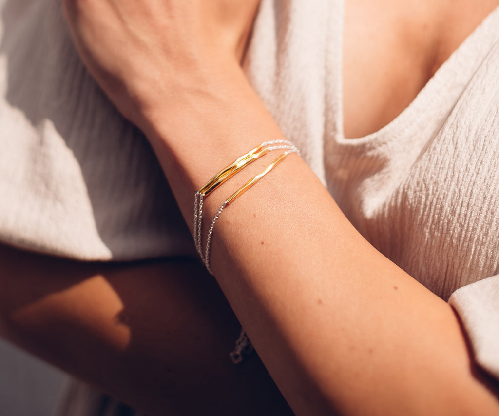 Lava bar bracelet gold and silver mixed metals UK jewellery brand Maya Magal