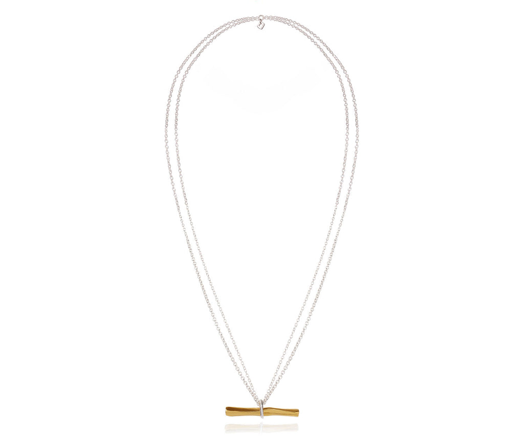 Lava Large t-bar necklace mixed metals gold and silver UK jewellery brand Maya Magal London