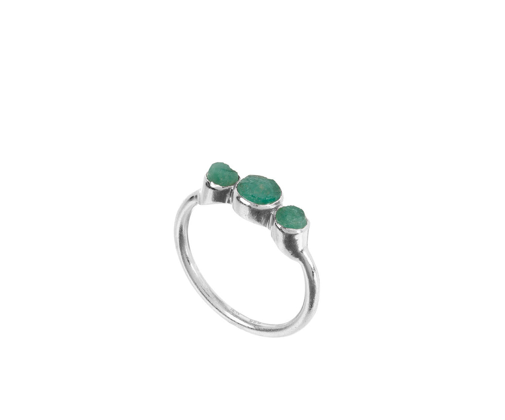 Holly Emerald Ring recycled sterling silver precious stone ring rough cut stones organic look jewellery brand Maya Magal collaboration Anthropologie London