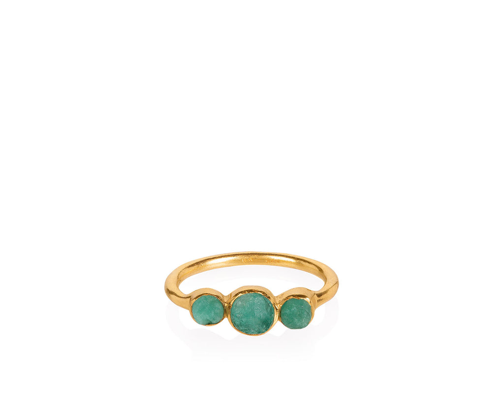 Holly Emerald Ring 18ct gold precious stone ring rough cut stones organic look jewellery brand Maya Magal collaboration Anthropologie London