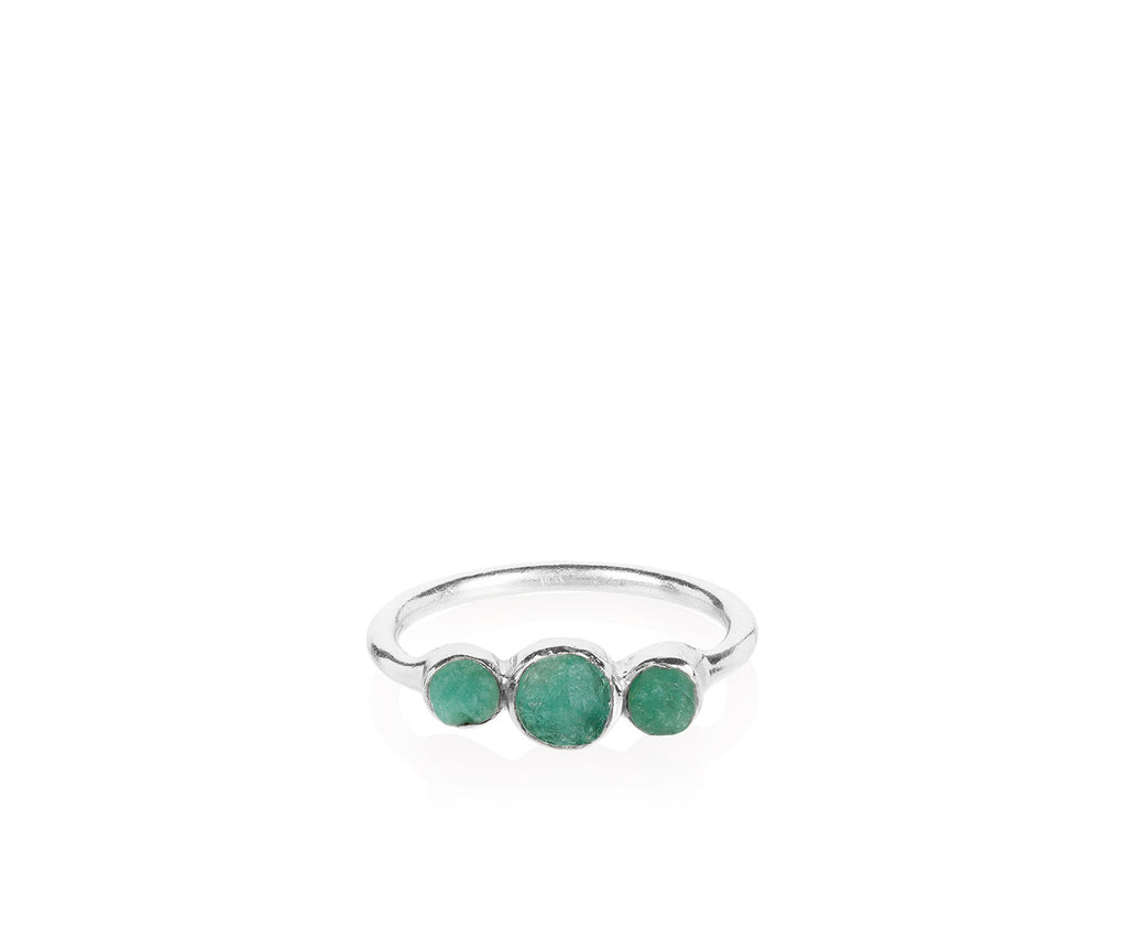 Holly Emerald Ring Silver- Anthropologie Collection