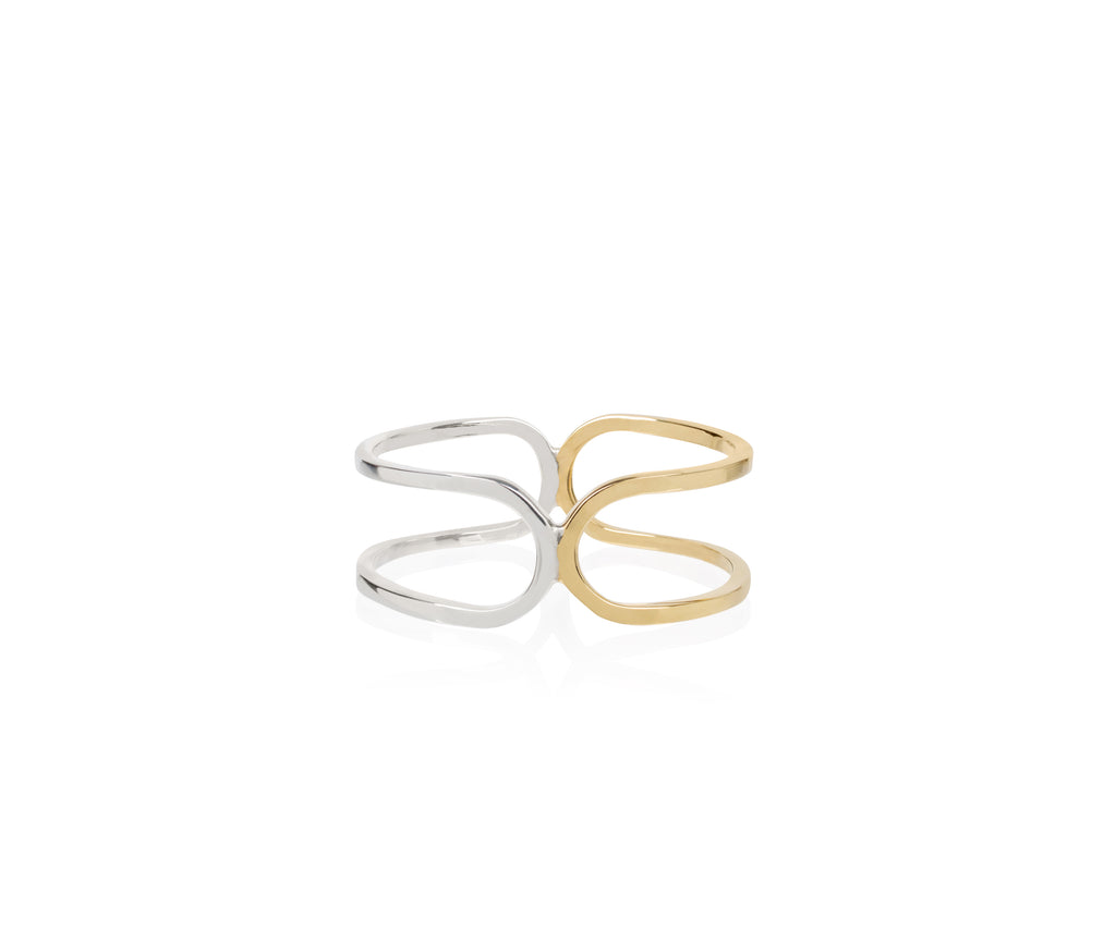 double link ring mixed silver gold Maya Magal jewellery London
