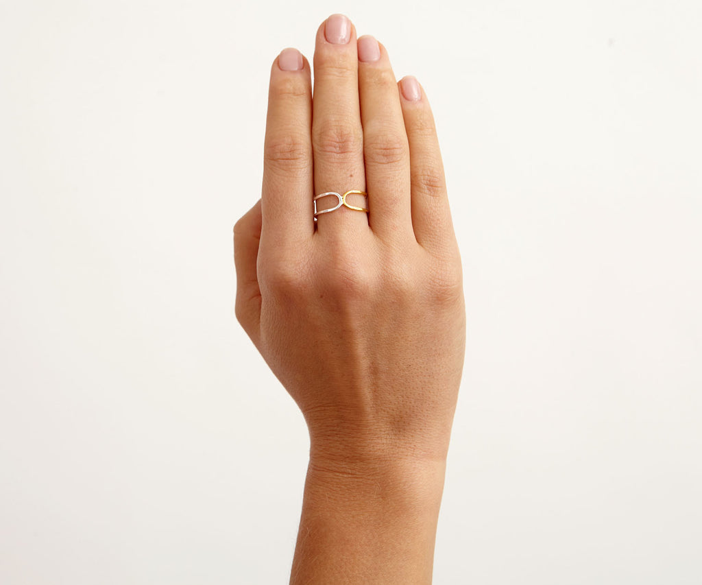 hover double link ring silver gold Maya Magal jewellery London
