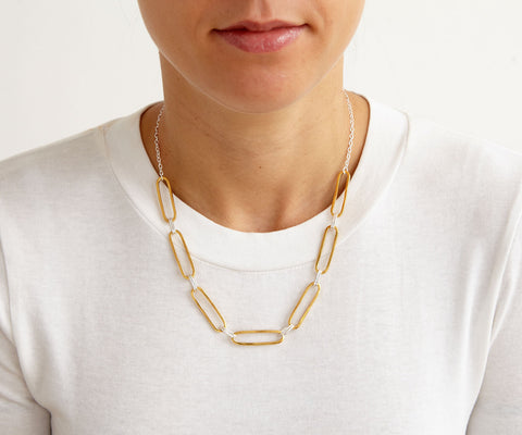 hover loose link choker mixed silver gold necklace Maya Magal jewellery London