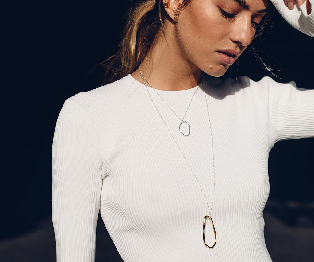 Simple Organic Chain-Link Pendant Silver Maya Magal London