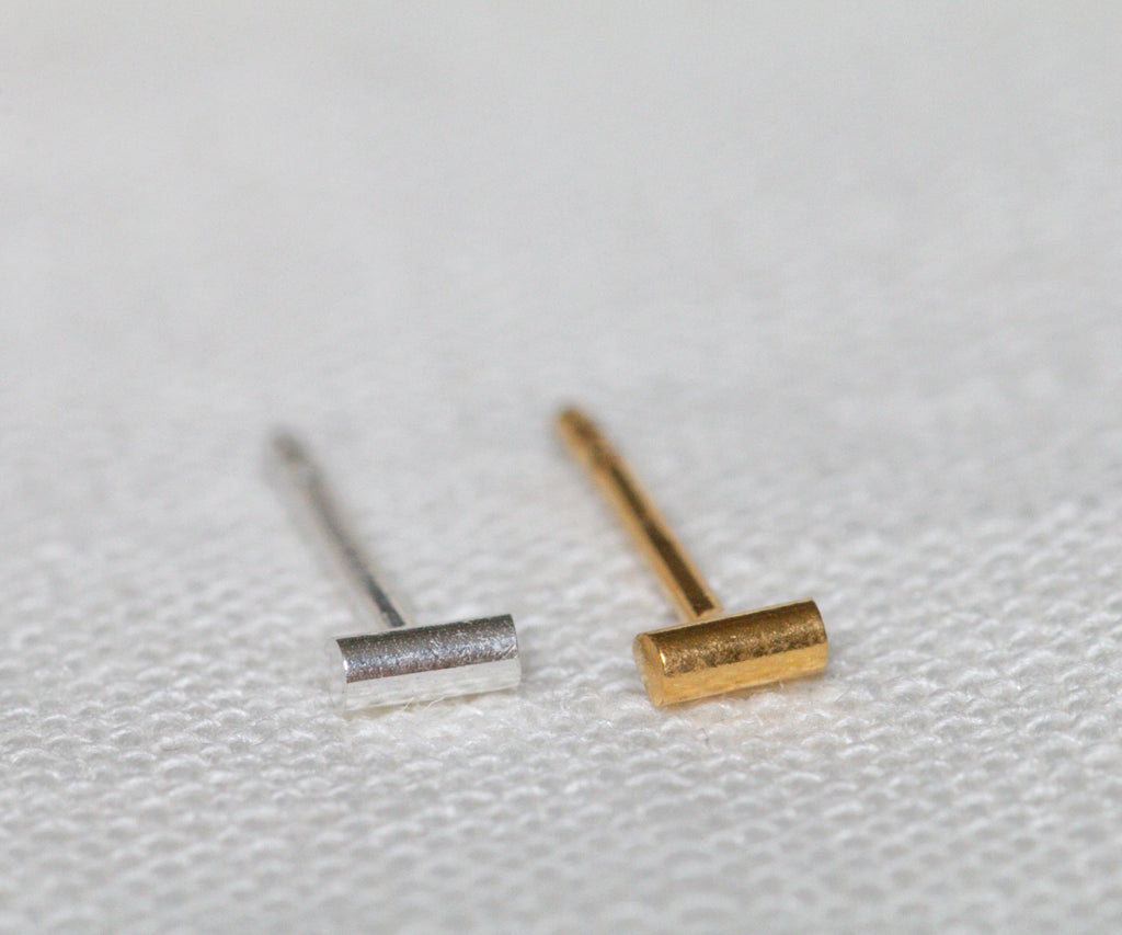 single line studs stud earrings in sterling silver or 18ct gold plated handmade in london uk