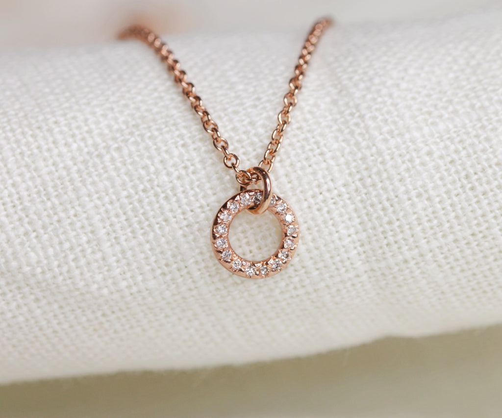 rose gold diamond pave O necklace handmade in london by maya magal uk