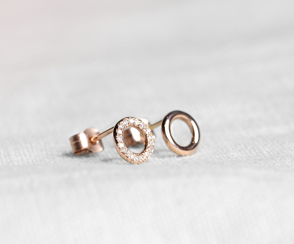 rose gold diamond pave O stud earrings handmade in london by maya magal uk