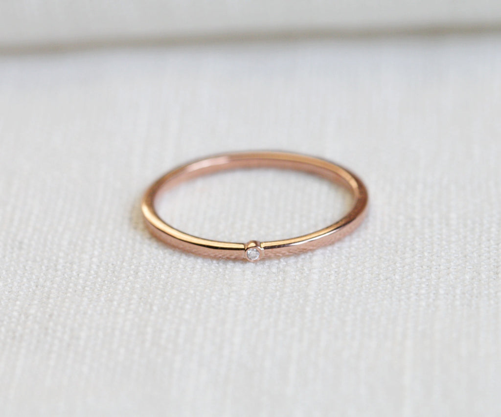 rose gold diamond ring handmade in london by maya magal uk