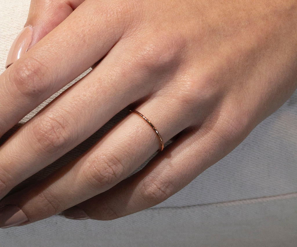 rose gold thin band ring handmade in london by maya magal uk