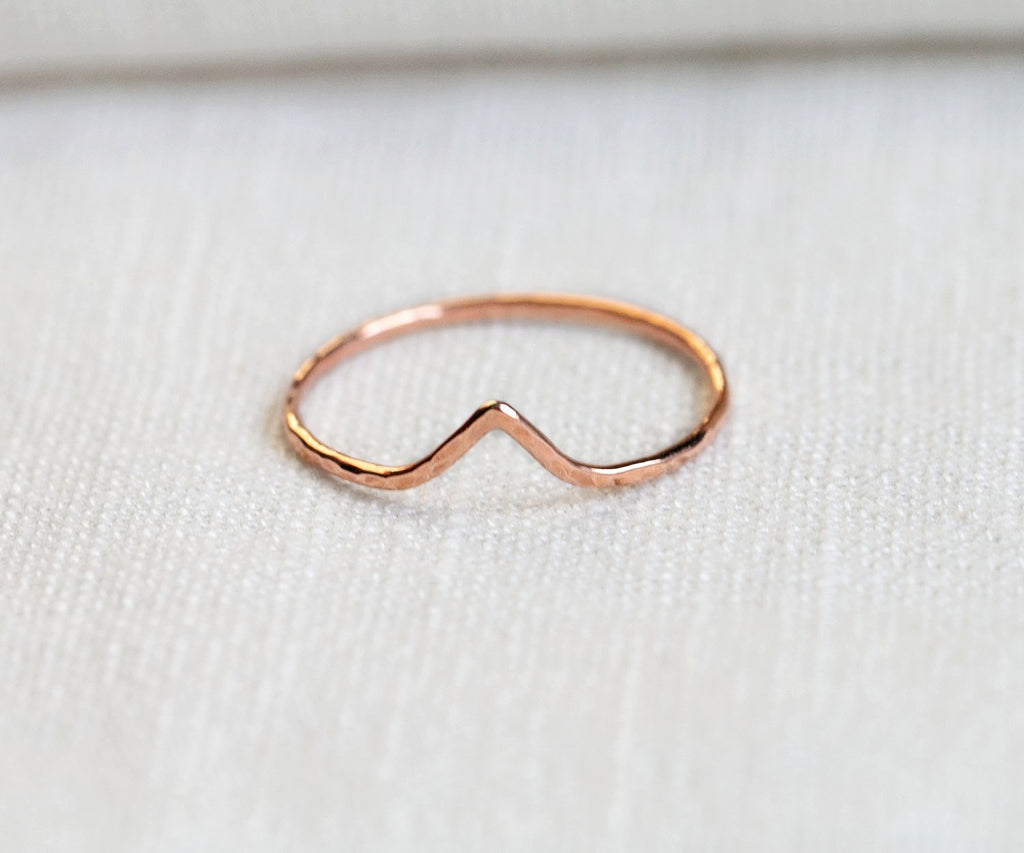 rose gold triangle ring handmade in london by maya magal uk