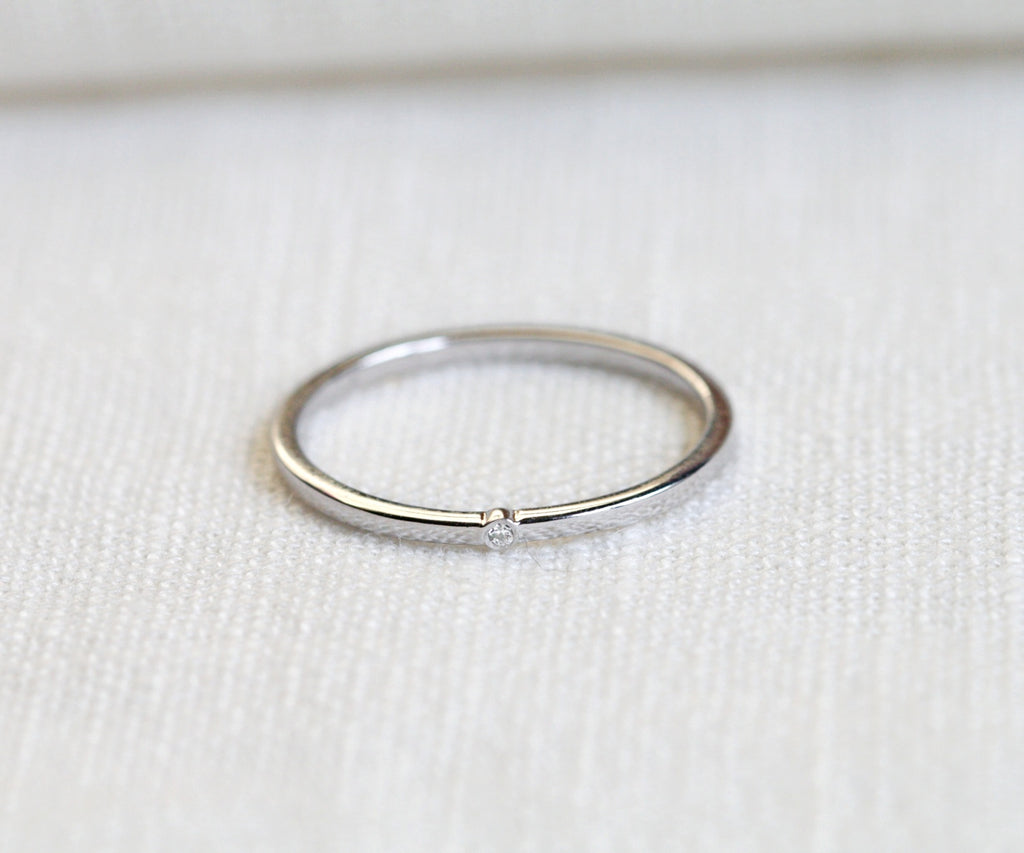 white gold thin band ring handmade in london by maya magal uk