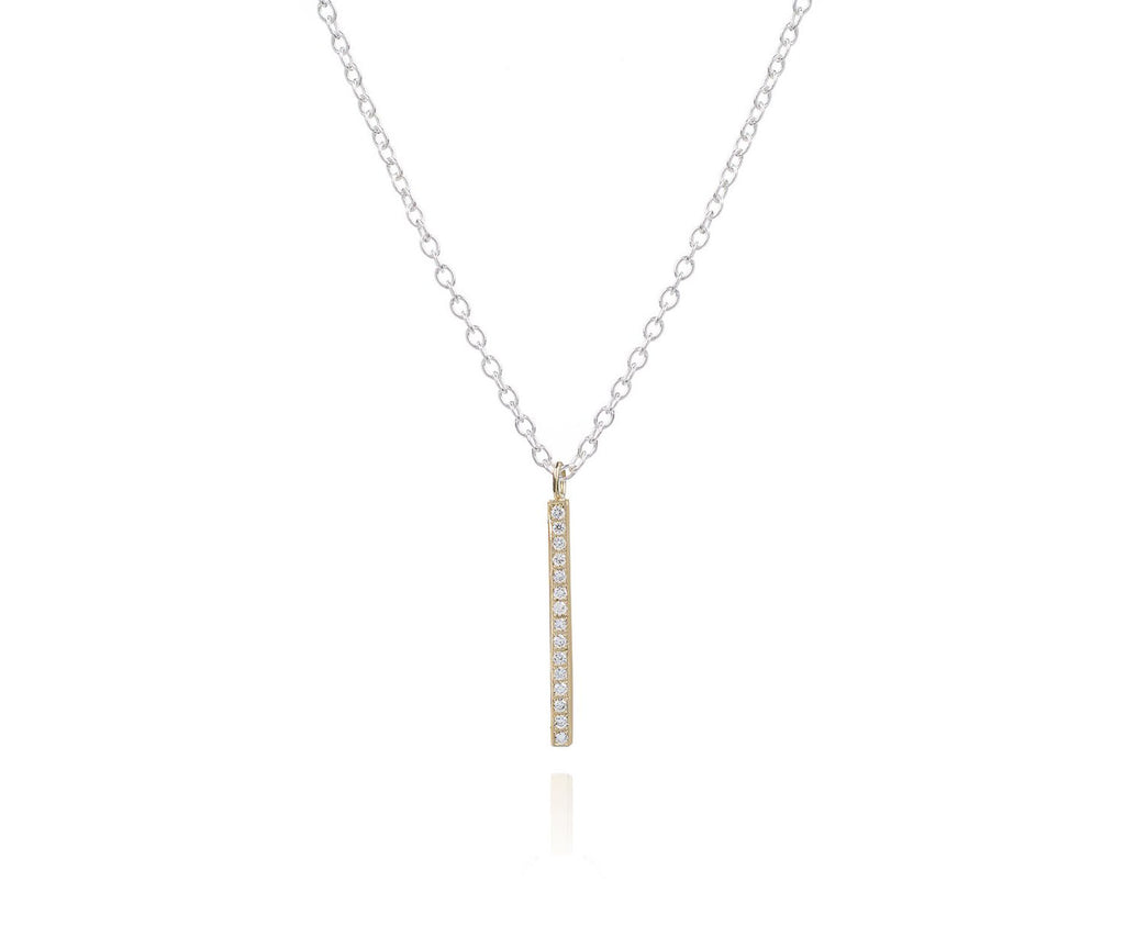 Solid Gold Diamond Bar Pendant