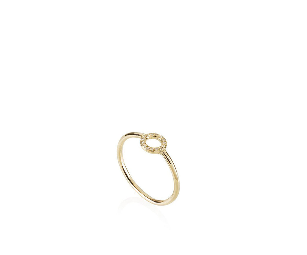 Solid Gold O Ring with white diamonds