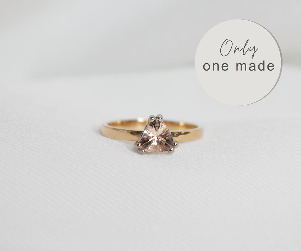 Solitaire ring with dusty pink trillion morganite set in 18ct gold