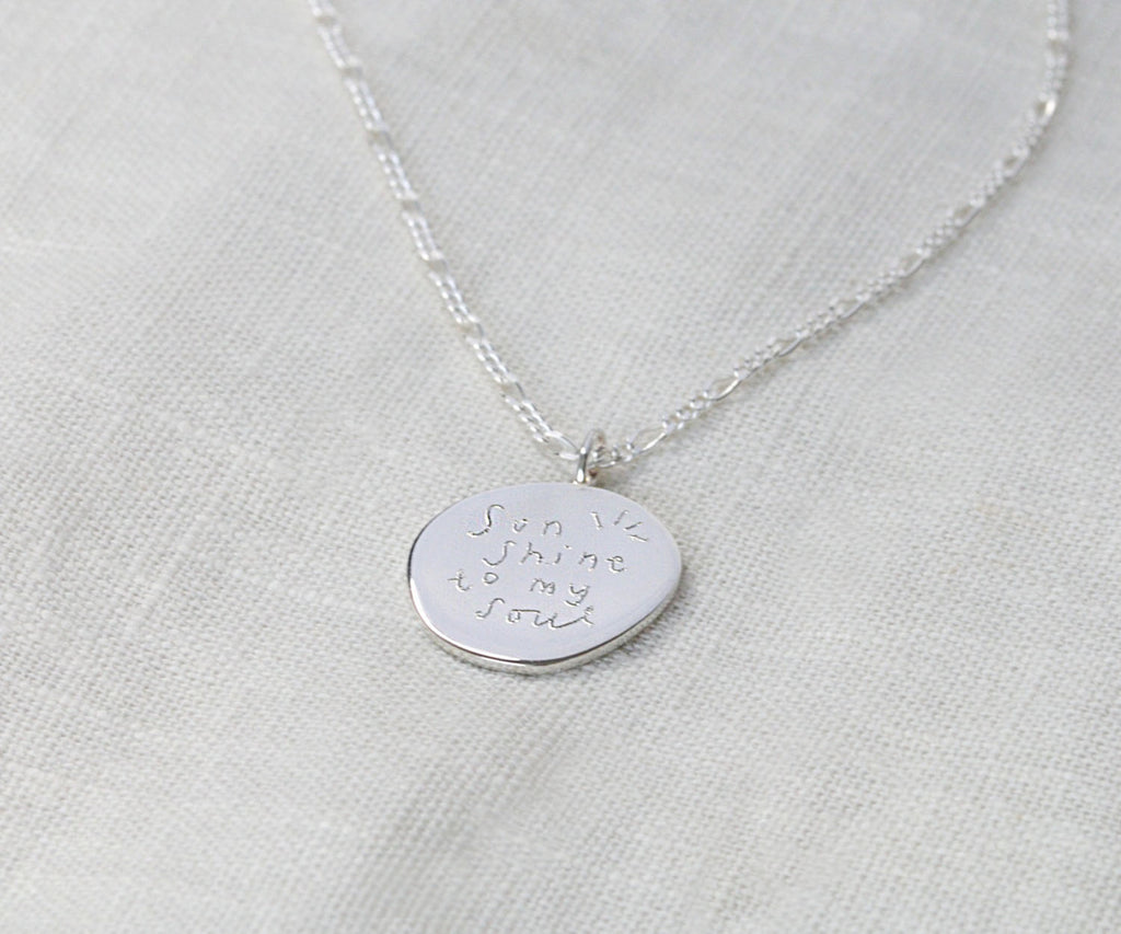 quote silver engraved necklace sketchy muma anna lewis jewellery collection maya magal london uk