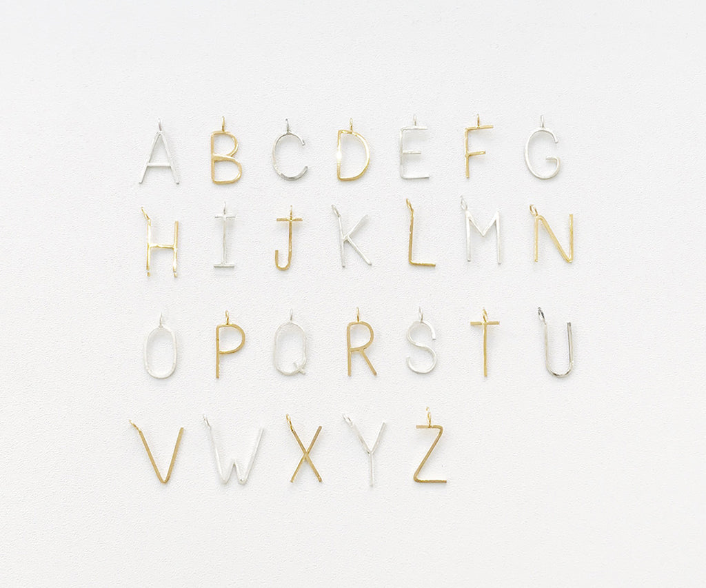 Outline Alphabet Necklace Gold ans Silver Maya Magal jewellery London
