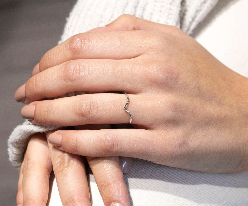white gold triangle ring handmade in london by maya magal uk