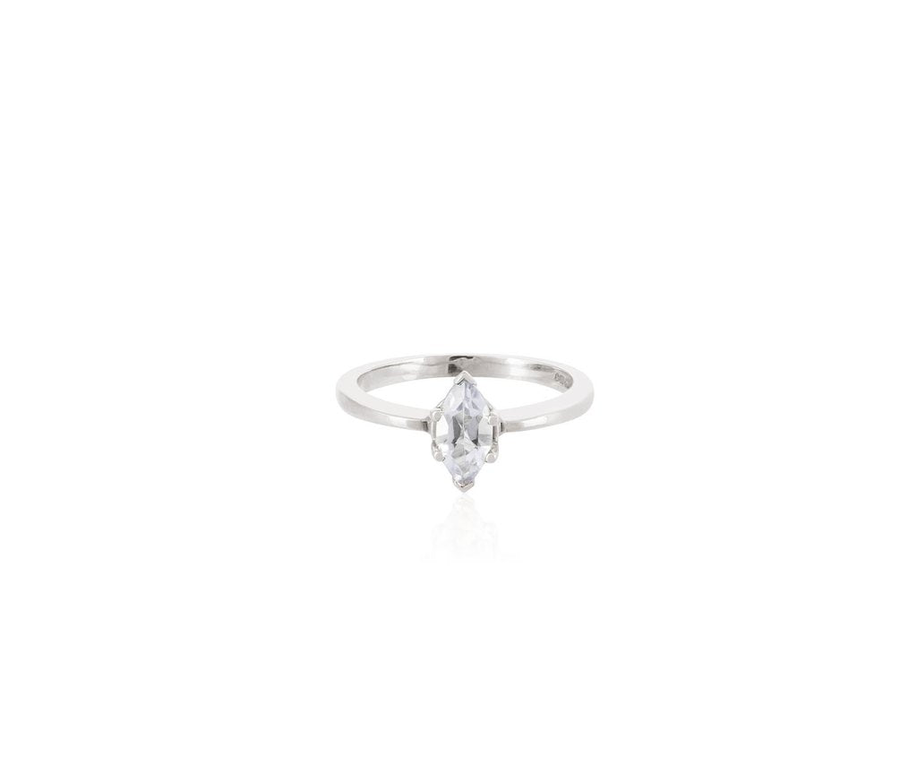 white topaz solitaire marquise cut ring solid 18 ct white gold