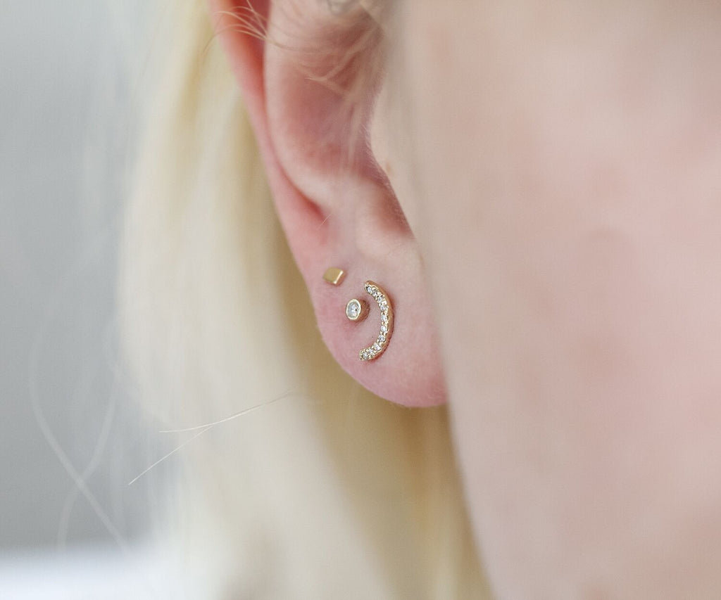 Solid Gold Grey Diamond Studs