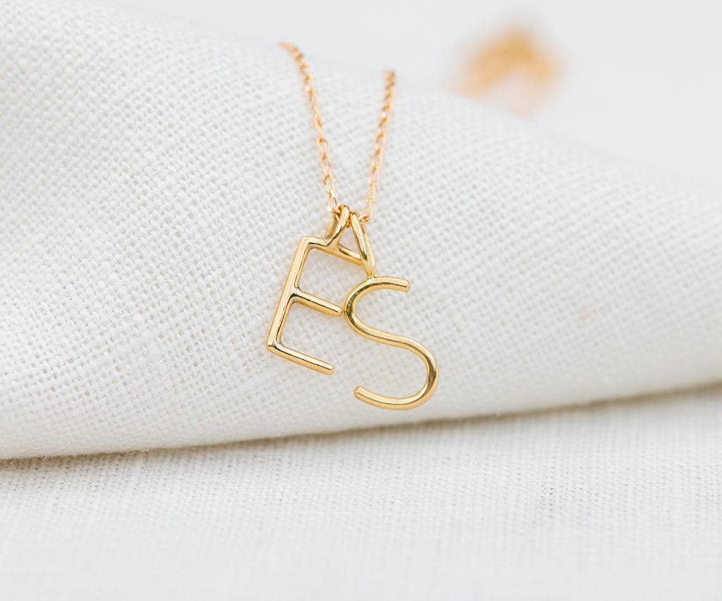 initial necklace in solid gold handmade in London by Maya Magal UK