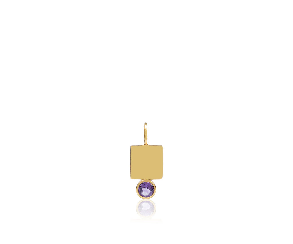 amethyst birthstone charm gold plated sterling silver maya magal