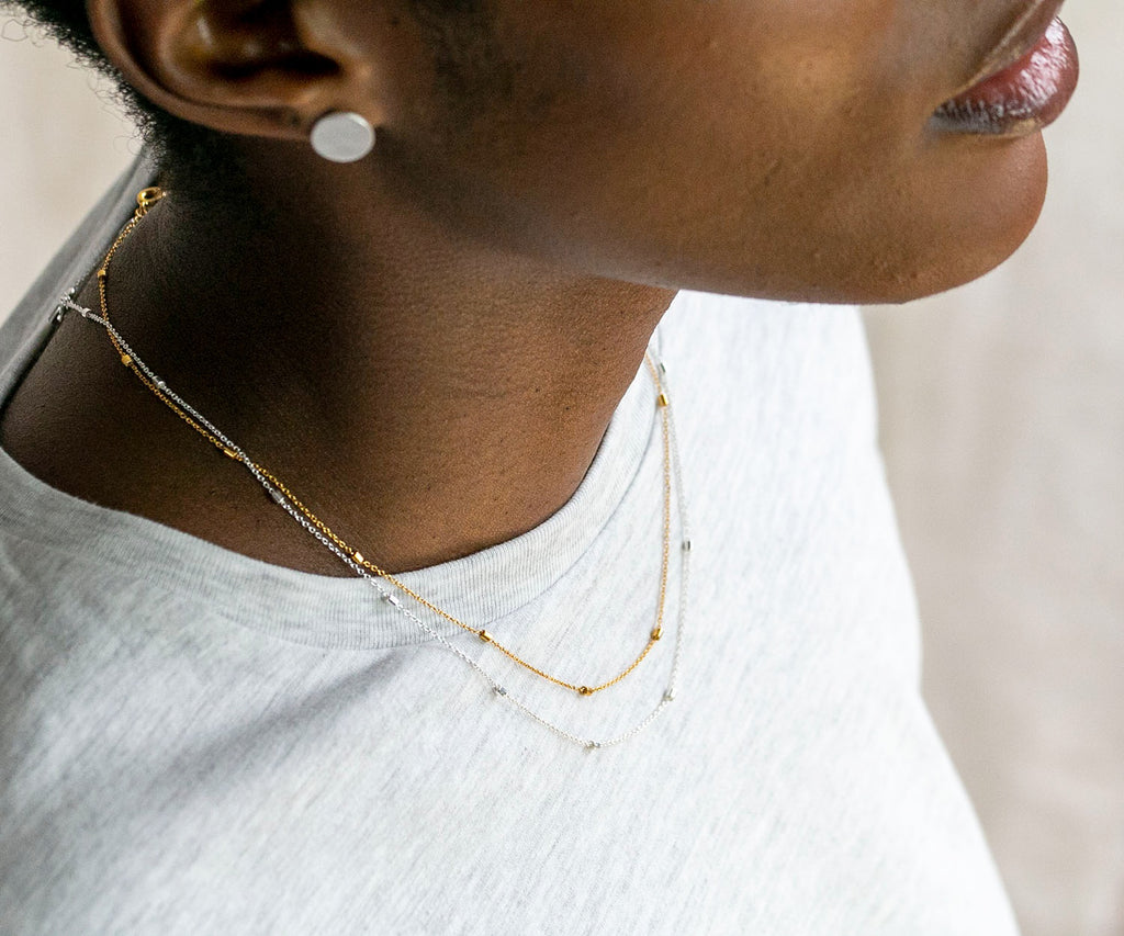 fusion fine chain necklace silver tube details maya magal luxury jewellery brand uk jewelry minimalistic contemporary