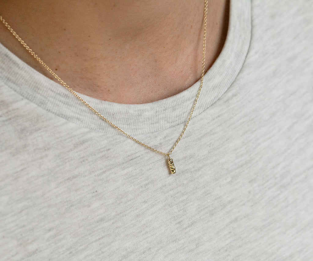 Solid Gold Necklace Etched Texture Natural Organic Luxury Brand Jewellery Maya Magal London UK