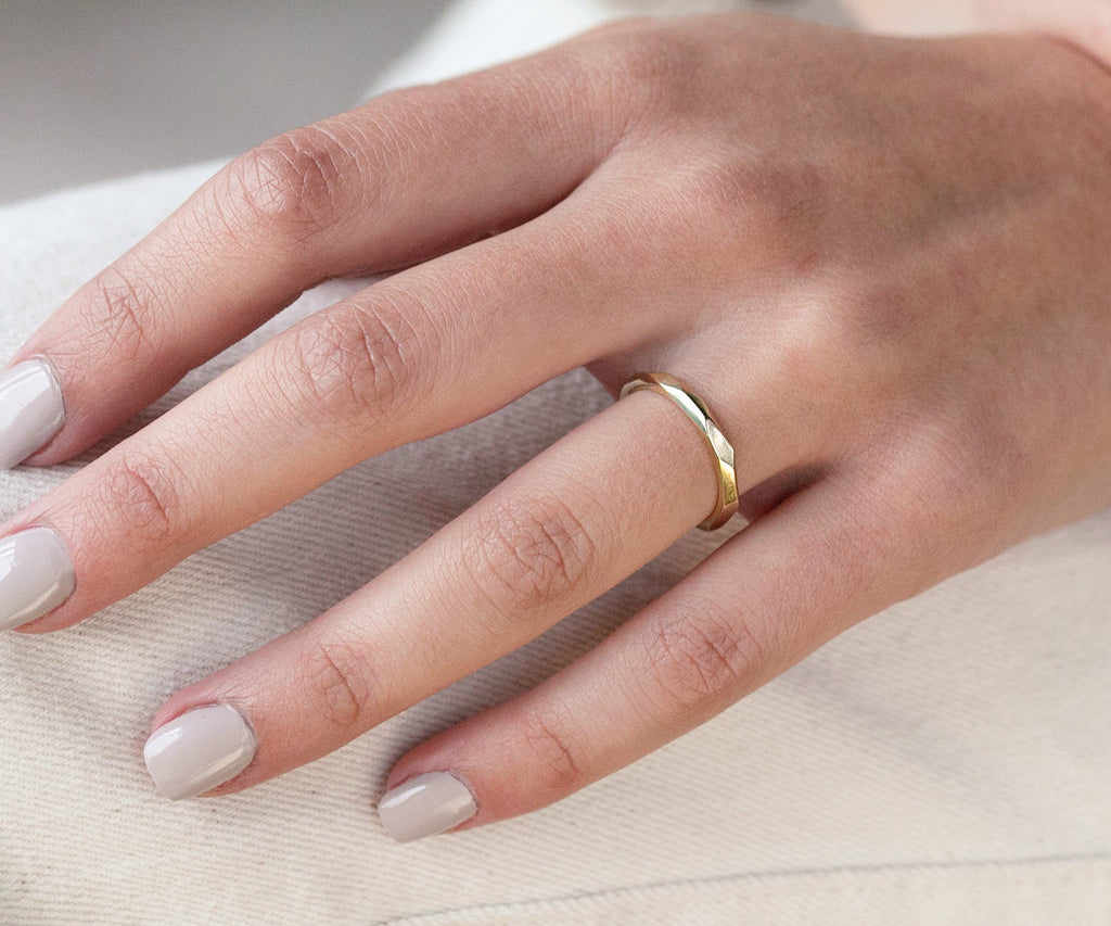 solid gold faceted ring 9ct yellow gold wedding band luxury jewellery brand maya magal london uk