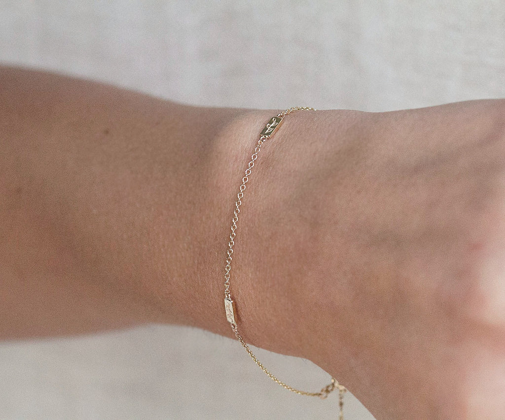 9ct Solid Gold Bracelet Evergreen with Botanical Engraved Leaf Design by Luxury Jewellery Brand Maya Magal London UK