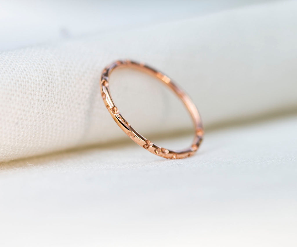 solid gold ring bubble detail handmade in 9ct gold