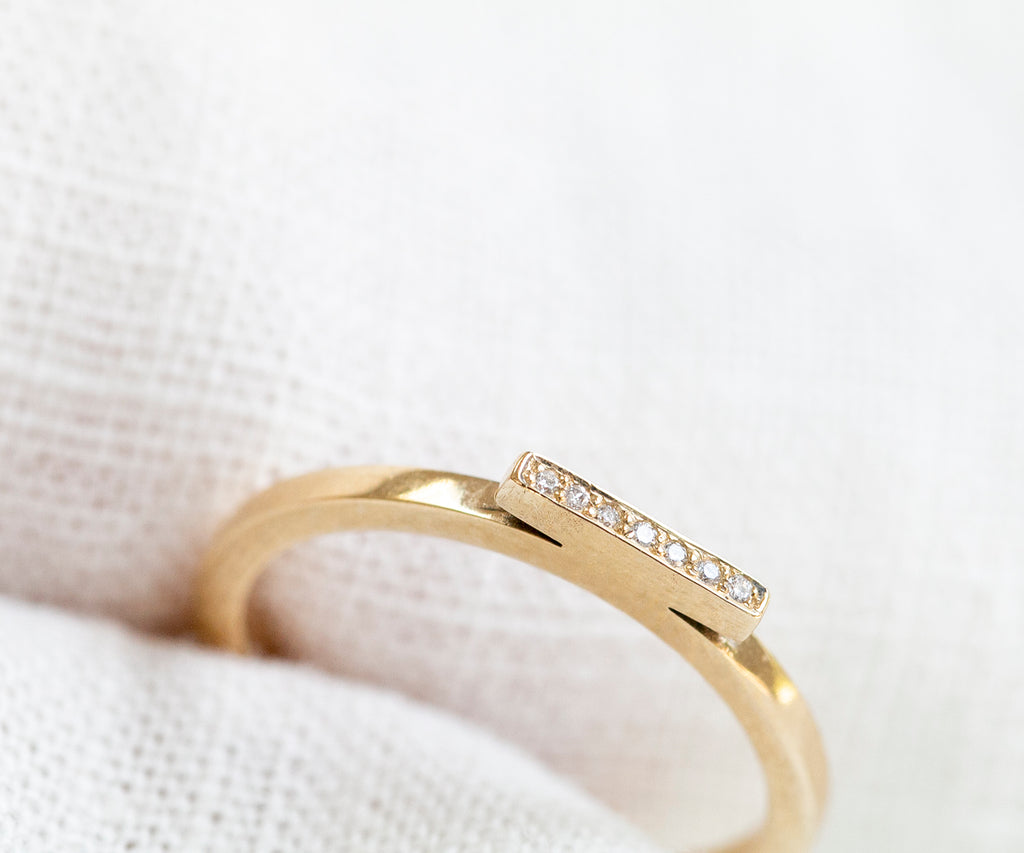 Solid Gold Diamond Bar Stacking Ring
