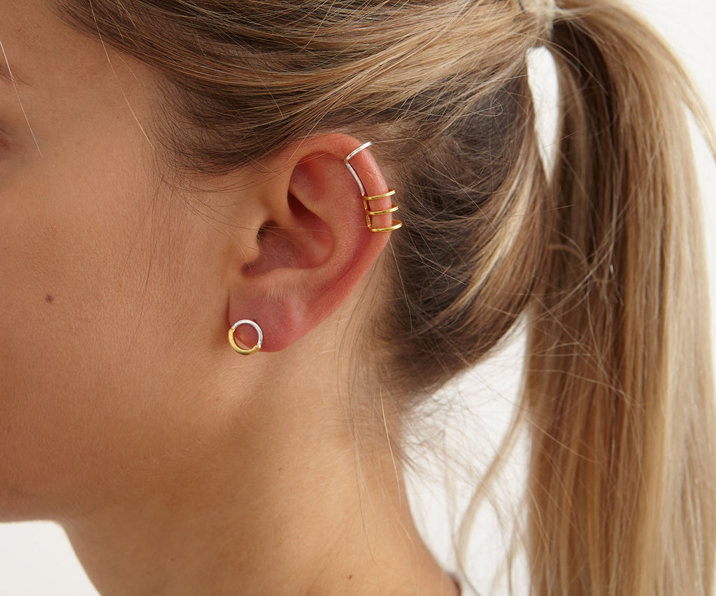half link studs mixed silver gold earrings Maya Magal jewellery London
