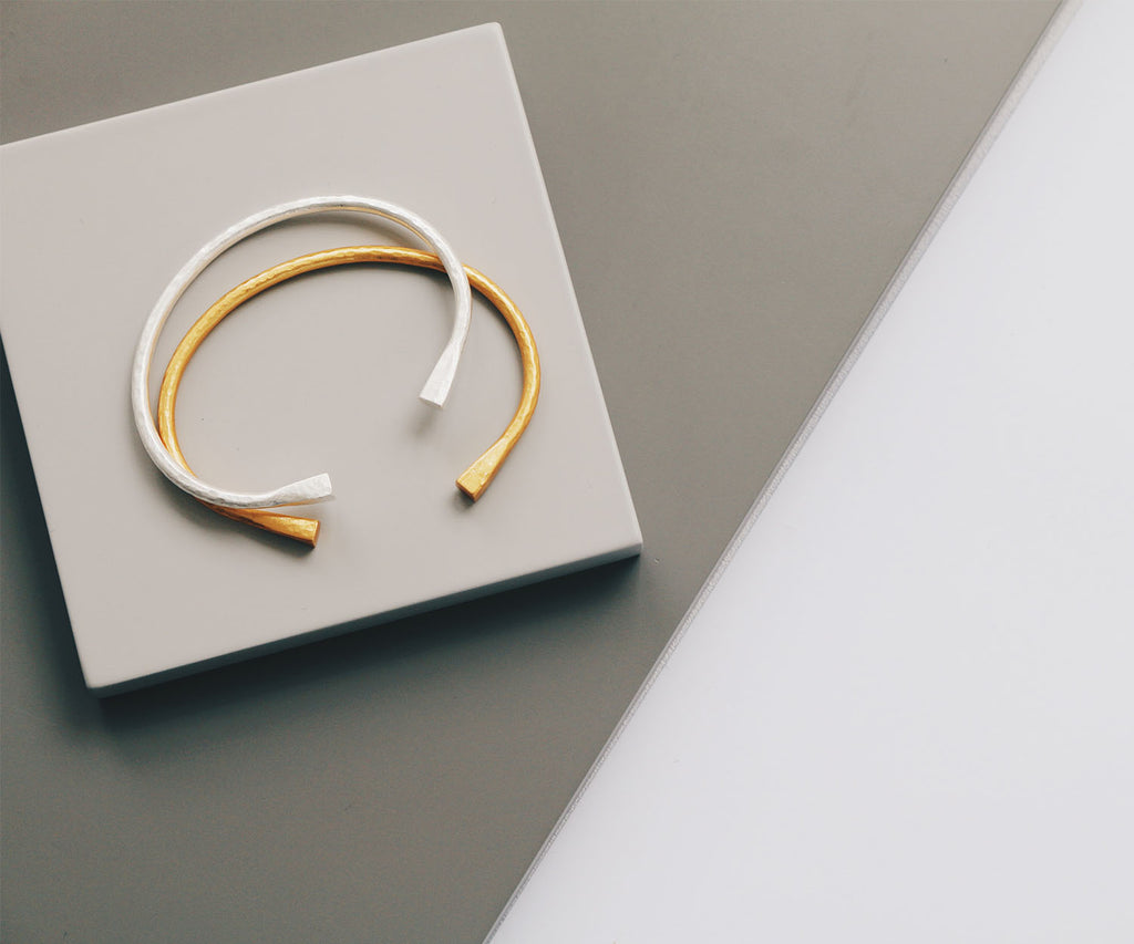 brushed open bangle gold silver bracelet Maya Magal jewellery London