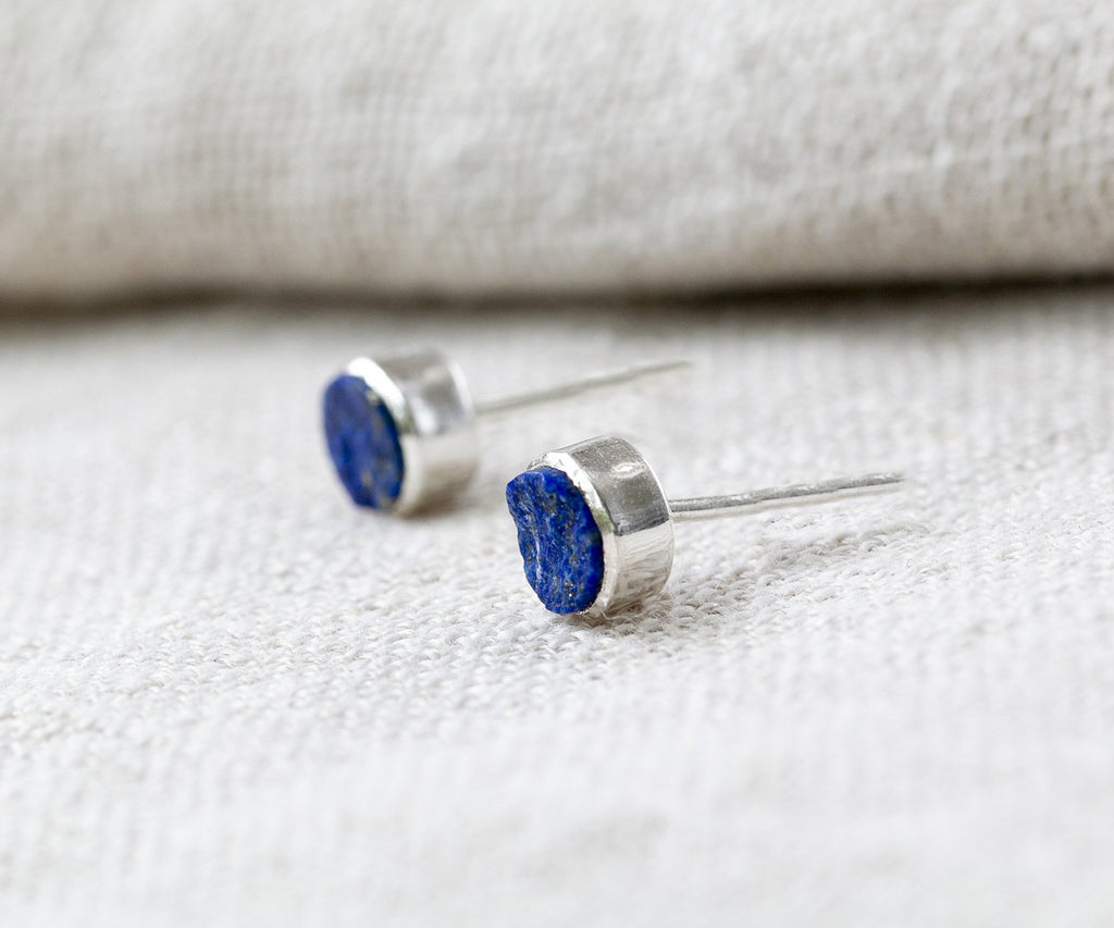 Rough Stones Lapis Stud Earrings
