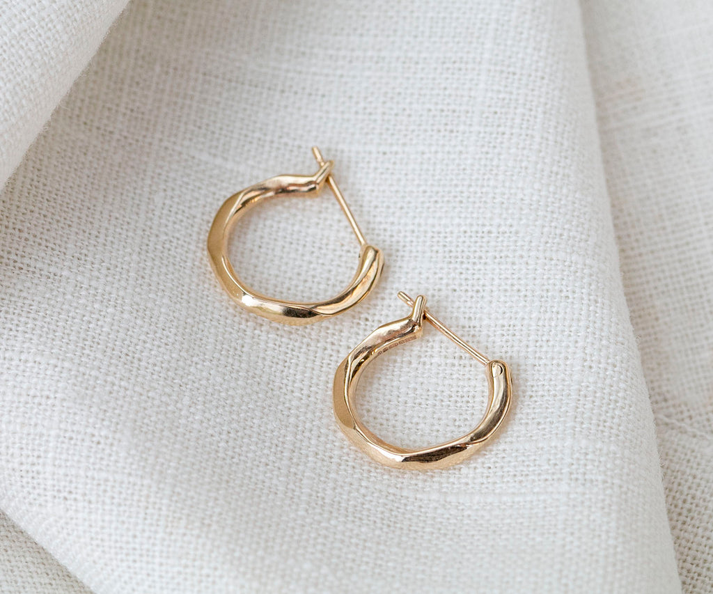Solid Gold Hoop Earrings Maya Magal Luxury Jewellery UK London Kings Cross Islington Lava Design Molten Organic Natural Shape