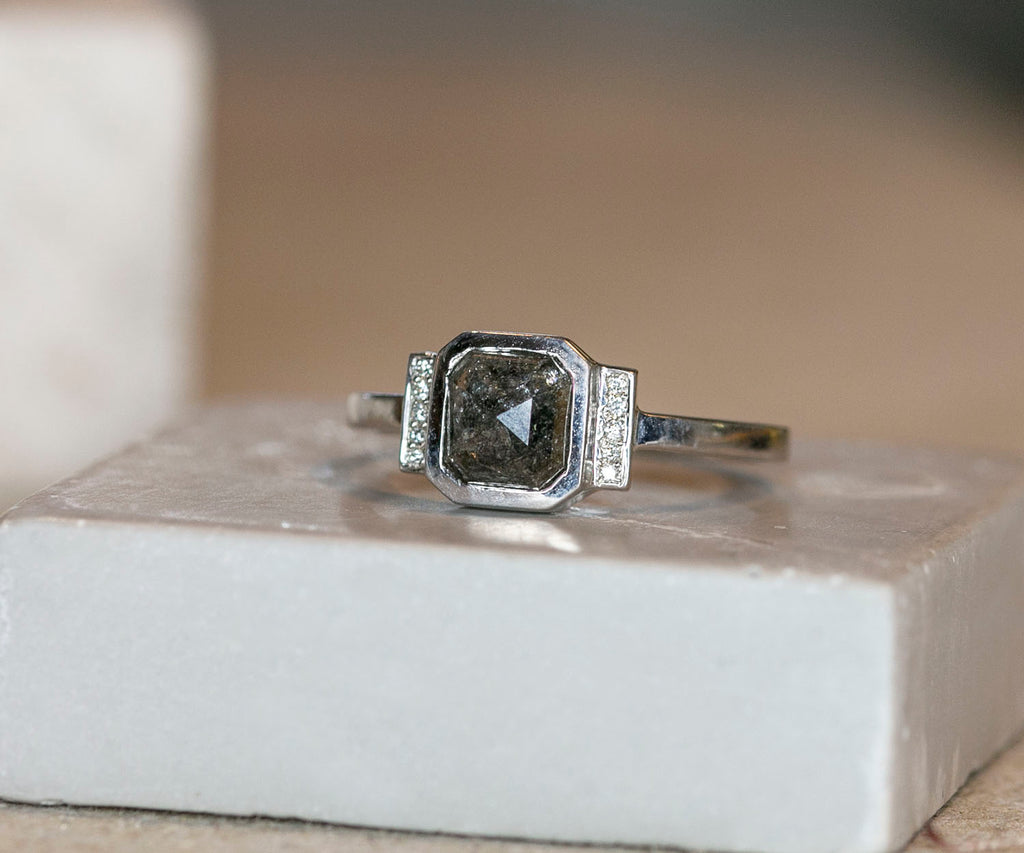 Octagon Salt & Pepper Diamond Ring
