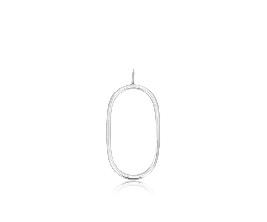 oval outline charm necklace jewellery luxury silver gold mixed metals fashion gift Maya Magal London