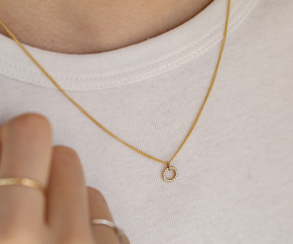 Solid Gold O Necklace