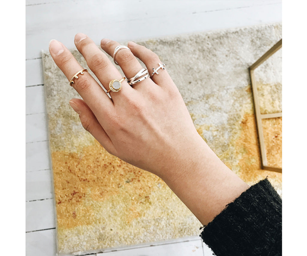 Rachel ring gold MMcollective collaboration Blackwell moonstone topaz Maya Magal London