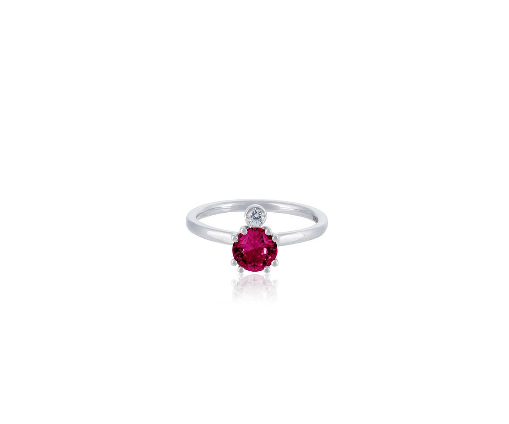 solid gold ring with brilliant cut rubellite set in 18ct solid white gold