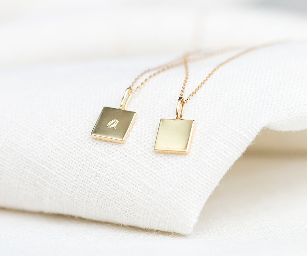 Solid Gold Square Pendant