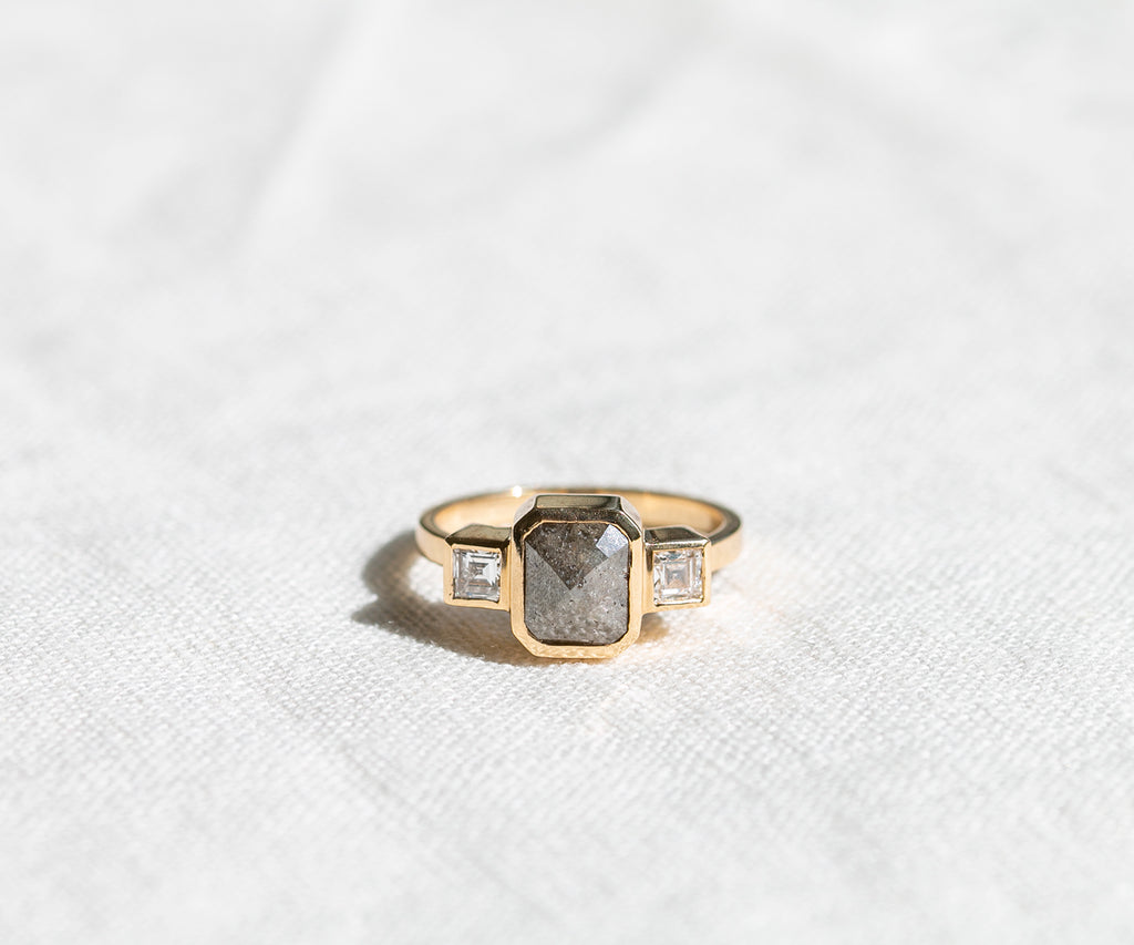 Solid Gold Three Stone Diamond Ring