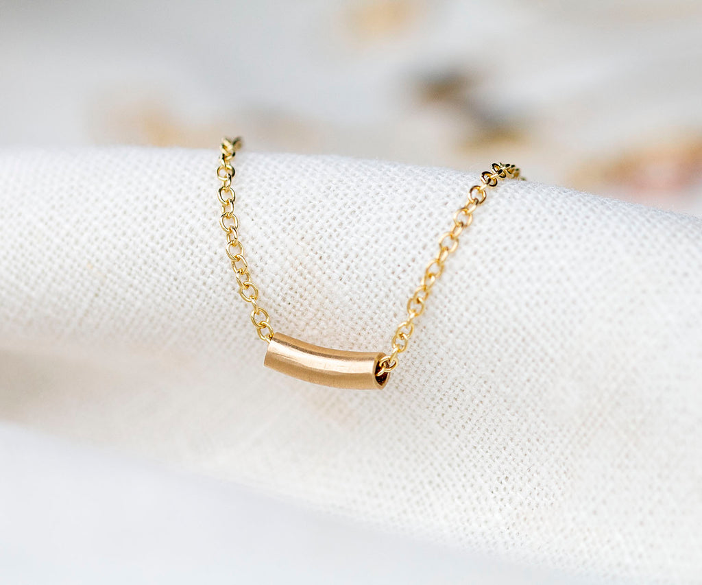 Solid Gold Tube Bead Necklace
