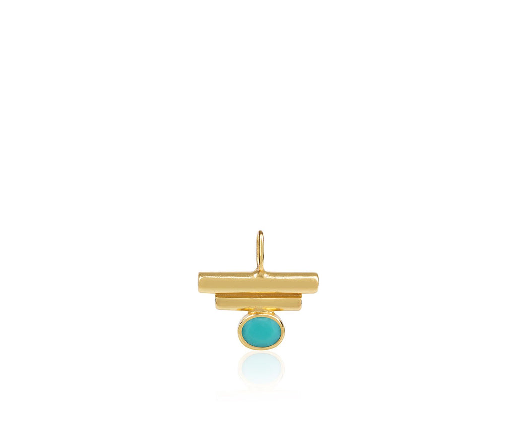 turquoise birthstone charm necklace jewellery luxury design silver gold gem stone Maya Magal London