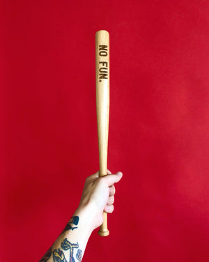 "The original ""NO FUN®"" mini bat.  The bat measures 18"" long and features a laser engraved ""NO FUN®"" logo near the top of the barrel."